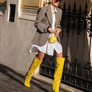 Prada Suede over the Knee yellow boot size 40